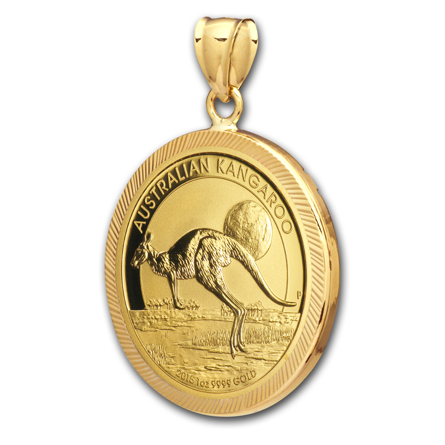 2014 1 oz Gold Kangaroo Pendant (Diamond-Prong Bezel)